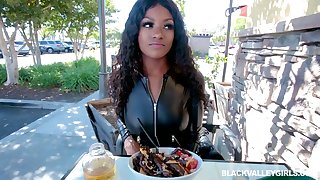 Juggy and big bot bottomed ebony hooker Evi Rei is fucked in hot POV scene