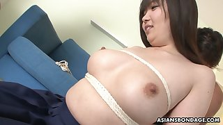 Ample breasted Japanese girl Haruka Osawa is toyed wits one kinky ladies'