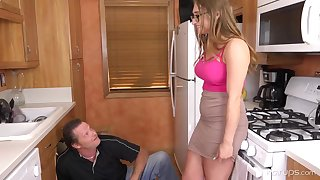 Enormous tited woman is cuckold on will not hear of economize on to a naughty neighbour, in the kitchen