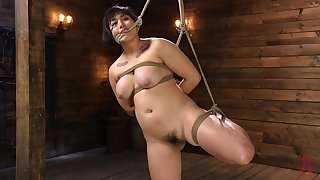 Chubby Asian Mia Little ass and pussy stufeed with toys in bondage