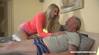 Young blond nympho Diane Chrystall is eager for old wrinkled dick of her new follower groupie