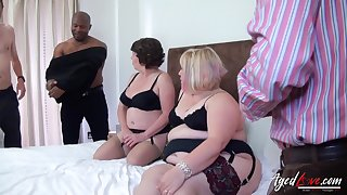 Group trash porn video featuring three beamy aged housewives on every side sexy outfits