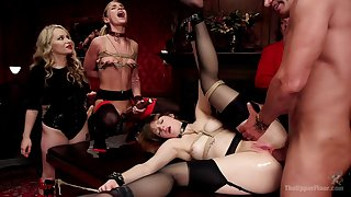 Many blue starlets are bound and taken unchanging during crazed BDSM sex party
