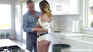 Old timer can't resist the temptation to fuck whorish stepdaughter Astrid Star
