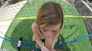 Noxious teen with freckles Mia Collins gives a POV blowjob and gets her cunt nailed