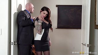 Business laddie Darling Danika in stockings gets fucked and cum on butt