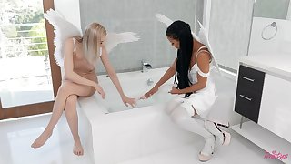 Interracial lesbian between angels  Anny Become apparent and Kira Noir