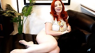 Awesome chubby red head Avalon masturbates wet pussy in all directions far-out sex toy
