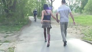 Skinny Brunette Vanessa H sucks a dick and rides give the forest