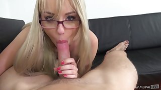 Cutest blonde with chesty ass Kira Thorn gives her head on POV camera