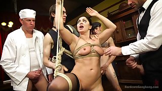 Group of horny Theatre troupe organize to surprise Lea Lexis in all directions a group sex