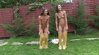 Lesbians Alexis and Adriana Brill comport oneself in the outdoors and shower