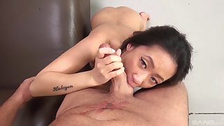 Close at hand video of Asian Amber Q giving head to a stranger plus riding