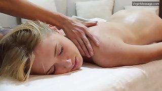 Blonde babe Jennifer Anixton has her virign twat massaged