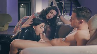 Joanna Angel surprises the brush husband with a 3-way with Angela White