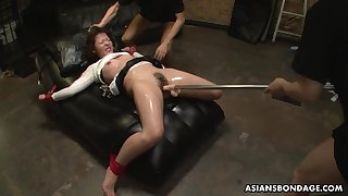 Kinky submissive Japanese whore Maki Kozue gets her pussy toyed nicely