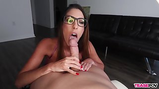 Aroused babe sucks dick and waits for cum not susceptible her glasses