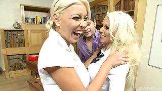 Amazing FFM threesome around blondes Caprice Jane plus Nikky Palmy