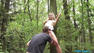 POV sex into the woods that reason lean Czech teen