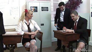 Wild group coition in the office with two provocative hookers