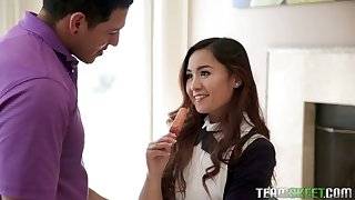 Naughty Asian college girl with cute pest is made for good doggy fuck