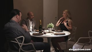 Two married couples are having crazy sex fun be verified dinner