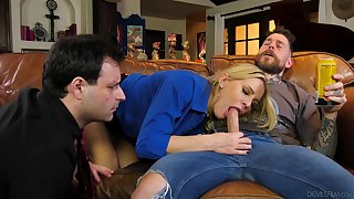 Hubby watches how his wife goes agile mode in cuckold