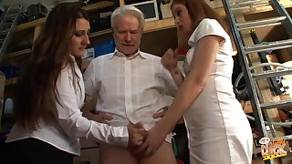 Mature man gets mocked by Kimberly Scott and Trinity for his pecker