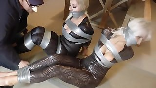 Kinky women with big tits got tied up tight and left on the floor, for a while