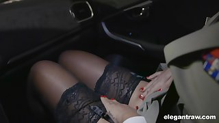 Hot Russian pamper Anna Polina shows stockings upskirt to french policeman