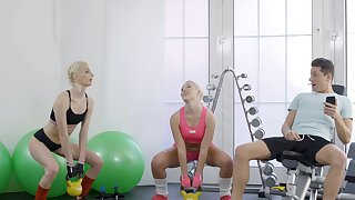 Addictive cock codification workout for two steamy blondes